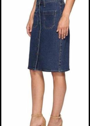 Джинсовая юбка карандаш с пуговицами