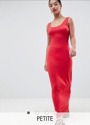 Boohoo летнее повседневное трикотажное платье сарафан макси в пол коралл