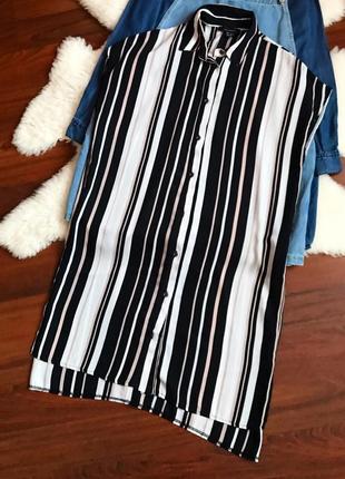 Платье рубашка в полоску , длинная рубашка
