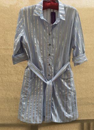 Рубашка платье пижамный стиль блуза полоска полосатая