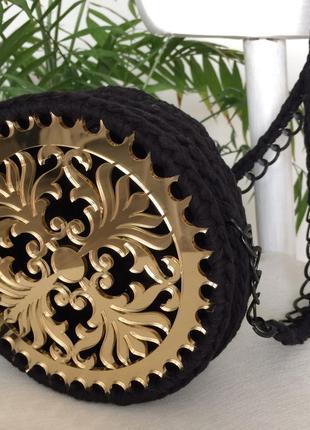 Кругла сумка плетена вязана ручної роботи