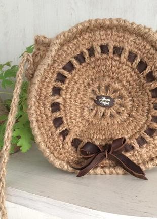 Кругла еко сумка плетена вязана джутова
