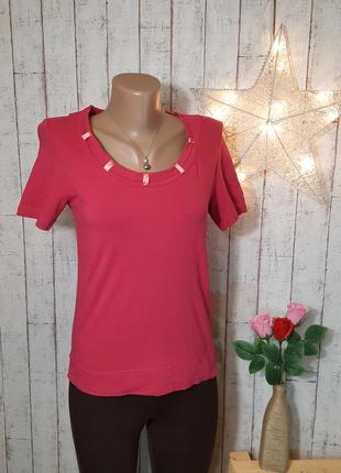 Красивая хлопковая розовая малиновая футболка майка топ блуза  р. s - м