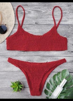 Красный купальник zaful раздельный купальник купальник в рубчик
