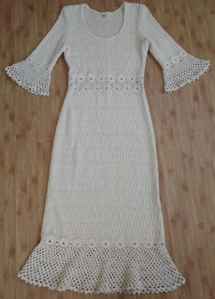 Крута лляна міді миди сукня плаття платье в етно стилі мережево бежеве