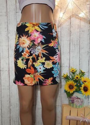 Sale брендовая юбка трапеция с ярким цветочным принтом р. xs - s  miss selfridge