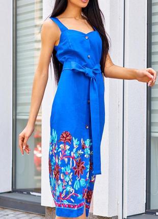 Летнее льняное натуральное синее/электрик платье-футляр на бретелях (s,m,l,xl/4 цвета)