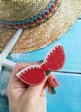 Брошь солнцезащитные очки красные