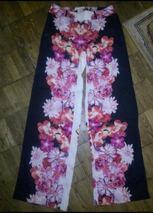 Брюки цветочные, лёгкие штаны с цветами
