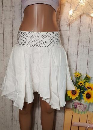 Sale белая льняная асимметричная юбка с заклепками из натуральной ткани р. s - м