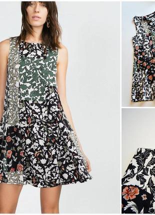 Летнее расклешенное платье в цветы от zara