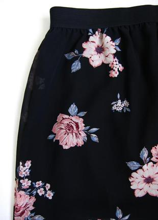 "Черная летняя ""шифоновая"" юбка макси/в пол в цветах от h&m2 фото"