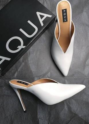 Aqua оригинал белые кожаные мюли босоножки на шпильке