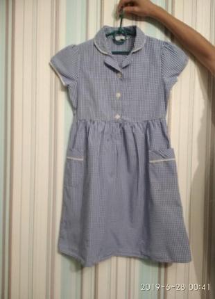 Платье в клеточку  синее с белым от m&s