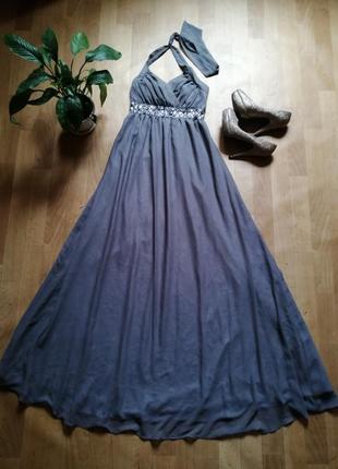 Шикарное  вечернее платье в пол, р 10 -12