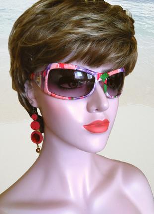 Новые женские пластиковые серо-голубые очки в оправе с цветами.