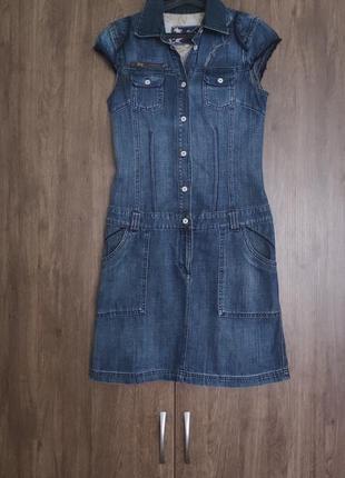 Платье сарафан джинсовый синий