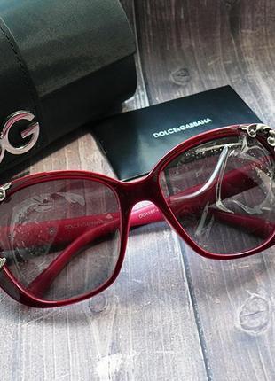 Женские брендовые бордовые очки с цветками, комплект, стекла в пленке