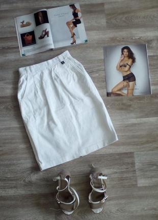 Белая ( айвори) вельветовая , строгая юбка карандаш c высокой посадкой s spengler moda