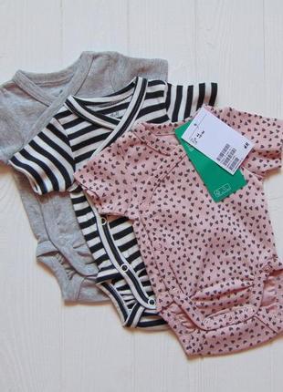 H&m. размер 0-1 месяц. новый комплект из 3-х боди с коротким рукавом для новорожденной