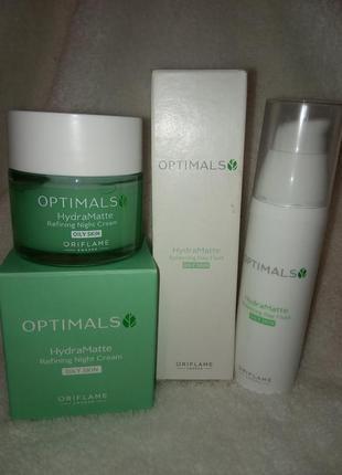 Матуючий денний та нічний крем для жирної шкіри optimals hydra