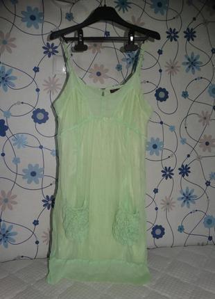 Сарафан платье нежно мятного цвета 100% натуральный шелк traffic people