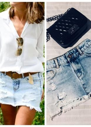 Мини юбка джинсовая от bershka (низкая посадка)