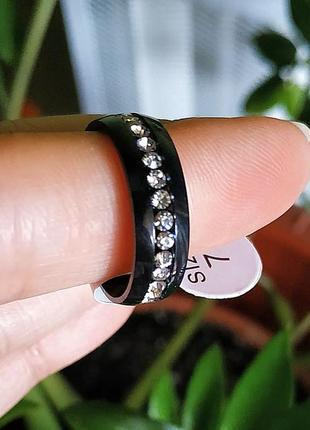 Колечко черное кольцо нержавеющая сталь