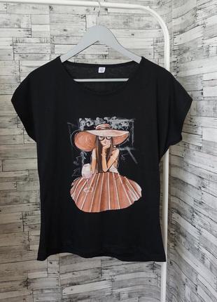 💥 летняя распродажа 💥 стильная чёрная футболка из хлопка