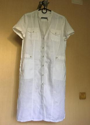 Белое льняное платье рубашка