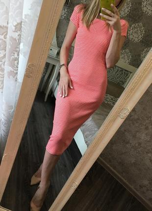 Платье-миди zara в полоску