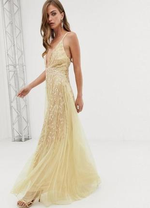 Asos розкішна жовто-золота декорована бісером та паєтками сукня3 фото