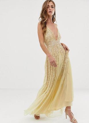 Asos розкішна жовто-золота декорована бісером та паєтками сукня2 фото