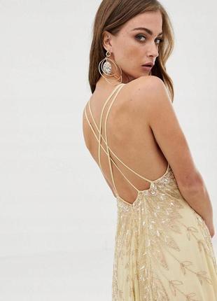 Asos розкішна жовто-золота декорована бісером та паєтками сукня4 фото