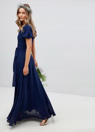 Tfnc розкішна темно-синя максі-сукня на запах