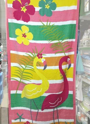 Пляжное полотенце турция велюровое 150×75 см фламинго