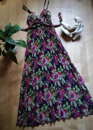 Сарафан в пол, платье в цветочный принт плесировка, р xs-s