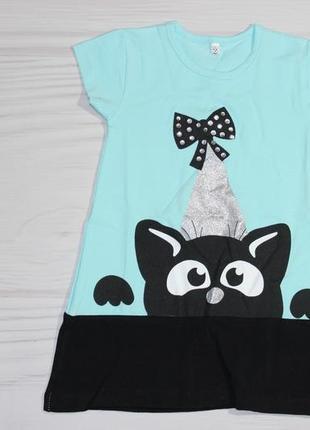 Летнее хлопковое мятное платье с котиком, турция1 фото