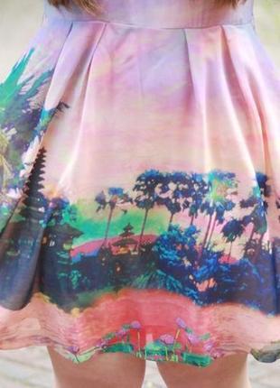 Платье с пейзажем пальмами плаття з поясом uttam london