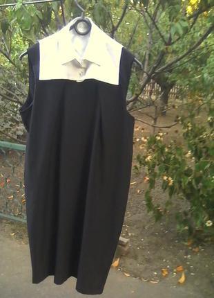 Классное платье-баллон с сьемным воротничком,размер 40.