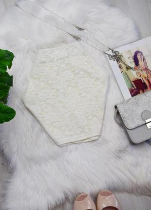 Кремовая белая гипюровая мини юбка