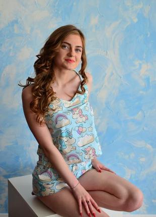 Хлопковая пижама единороги размер s (42-44)