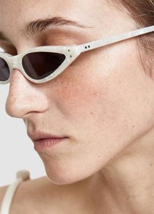 Трендовые очки очки в белой оправе кошки очки солнцезащитные