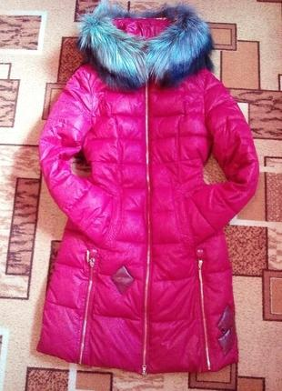Пальто пуховик зимняя куртка зимняя зефирка мех чернобурка