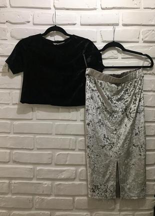 Костюм, комбинация. юбка и топ из бархата