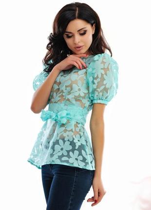 Блузка женская из органзы. мята 42 р