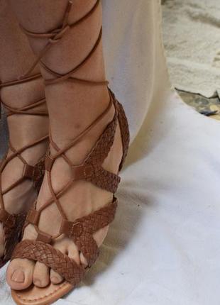Кожаные босоножки сандали шлепанцы сандалии гладиаторы