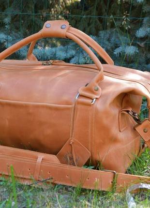 """Дорожная кожаная сумка """"praga-2"""", спортивная коричневая сумка2 фото"""