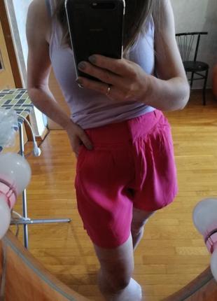 Малиновые шорты из вискозы new look