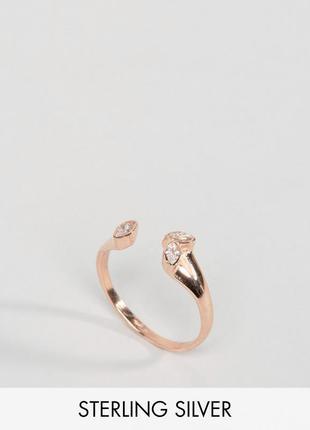Кольцо из позолоченного серебра с камнем asos бижутерия
